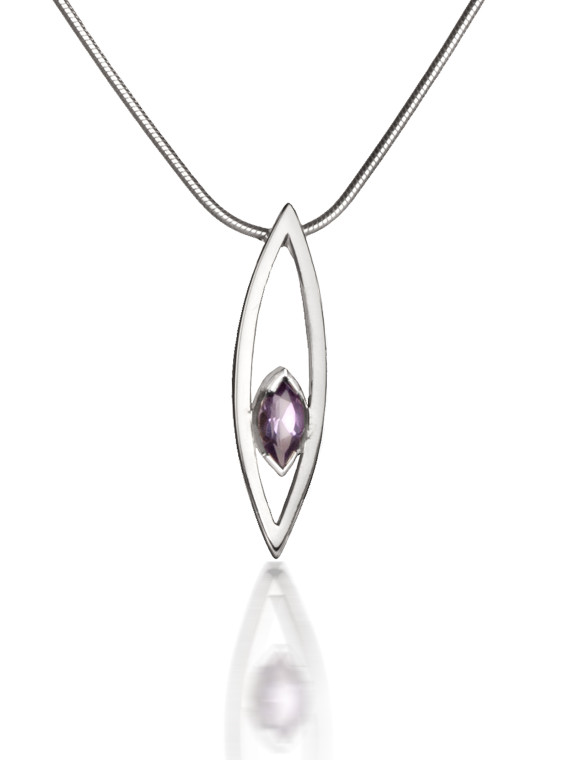 Silver Swing Time Medium Pendant with Amethyst
