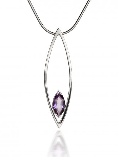 Silver Swing Time Large Pendant with Amethyst