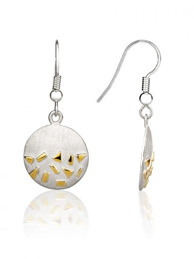 Fiona Kerr Jewellery / Confetti Silver & Gold Round Drop Earrings - GRD04