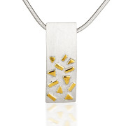 Fiona Kerr Jewellery / Silver & Gold Confetti Large Rectangle Pendant  – GRE01