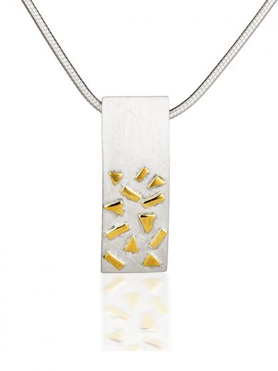 Fiona Kerr Jewellery / Silver & Gold Confetti Large Rectangle Pendant  - GRE01