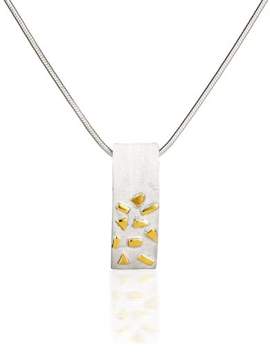 Fiona Kerr Jewellery / Silver & Gold Confetti Small Rectangle Pendant  - GRE02
