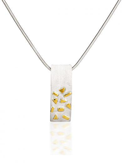 Fiona Kerr Jewellery / Silver & Gold Confetti Small Rectangle Pendant  - GRE02