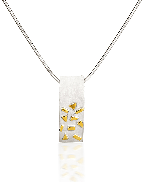 Fiona Kerr Jewellery / Silver & Gold Confetti Small Rectangle Pendant  – GRE02