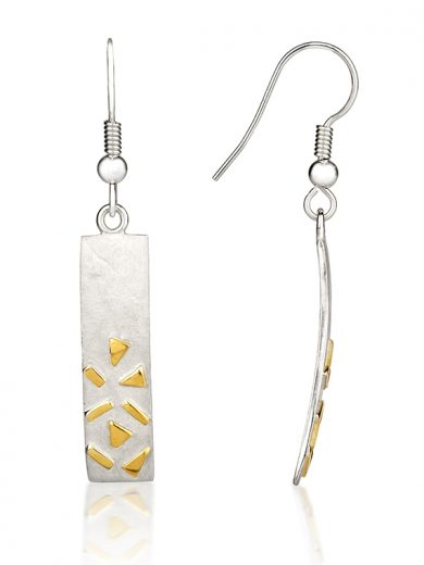 Fiona Kerr Jewellery / Silver & Gold Confetti Rectangle Drop  Earrings - GRE04