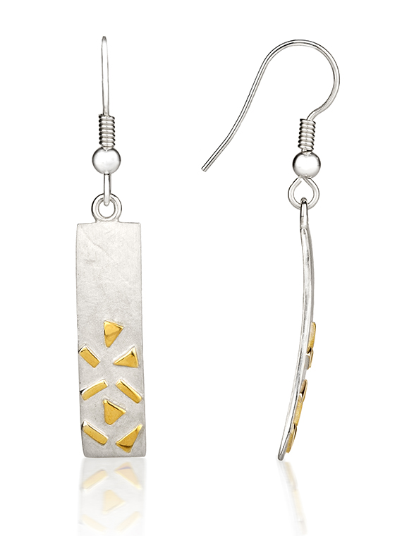 Fiona Kerr Jewellery / Silver & Gold Confetti Rectangle Drop  Earrings – GRE04