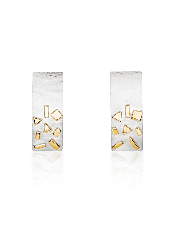 Silver & Gold Confetti Rectangle Cufflinks - GRE06