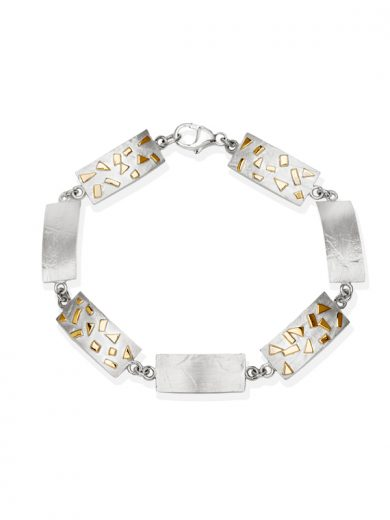 Fiona Kerr Jewellery / Silver & Gold Confetti Rectangle bracelet - GRE07