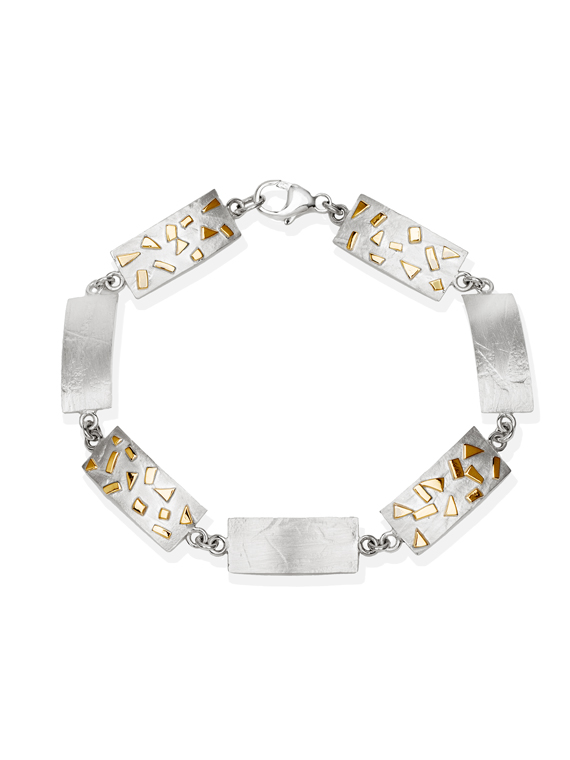 Fiona Kerr Jewellery / Silver & Gold Confetti Rectangle bracelet – GRE07
