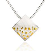 Fiona Kerr Jewellery / Silver and Gold Confetti Large Square Pendant – GSQ01