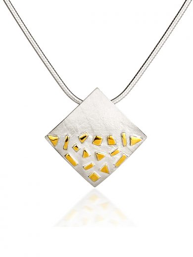 Fiona Kerr Jewellery / Silver and Gold Confetti Large Square Pendant - GSQ01