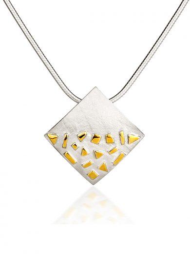 Fiona Kerr Jewellery / Silver & Gold Confetti Large Square Pendant - GSQ01