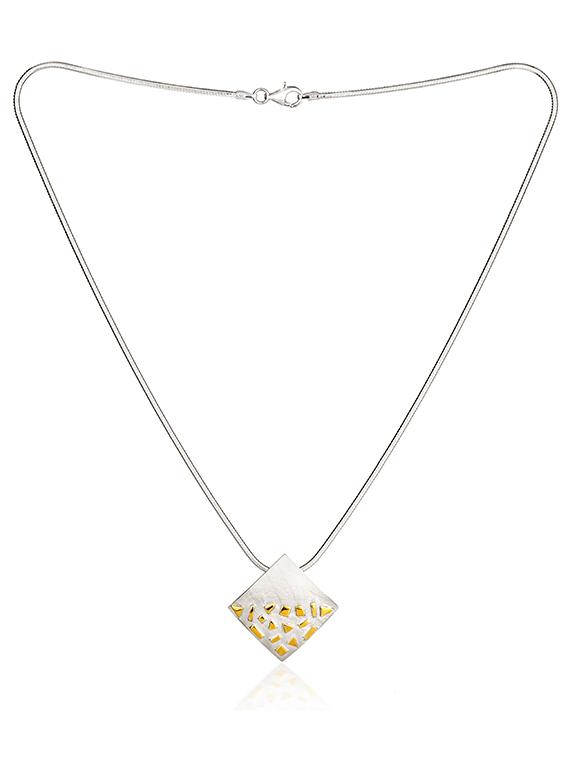 Fiona Kerr Jewellery / Silver and Gold Confetti Large Square Pendant - GSQ01