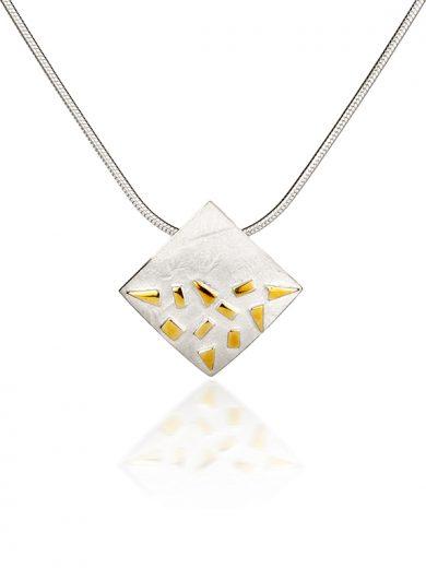 Fiona Kerr Jewellery / Silver & Gold Confetti Small Square Pendant - GSQ02