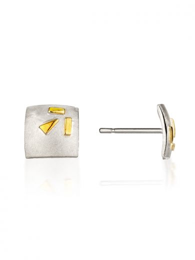 Fiona Kerr Jewellery / Silver & Gold Confetti Square Stud Earrings  - GSQ03
