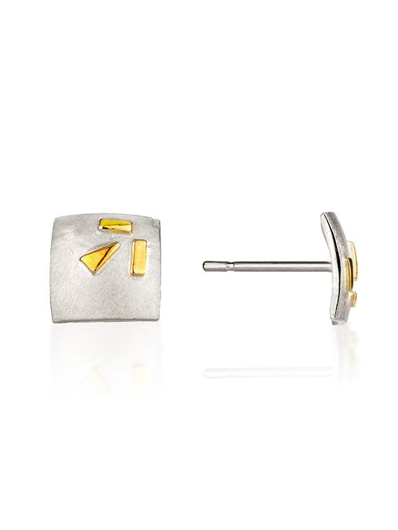 Fiona Kerr Jewellery / Silver & Gold Confetti Square Stud Earrings  – GSQ03