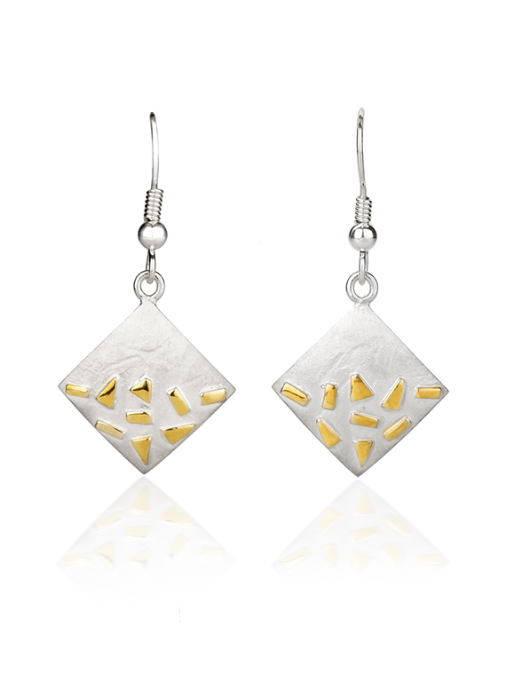 Fiona Kerr Jewellery / Silver and Gold Confetti Square Drop Earrings  – GSQ04