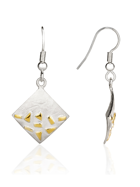 Fiona Kerr Jewellery / Silver and Gold Confetti Square Drop Earrings - GSQ04