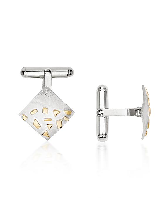 Silver & Gold Confetti Square Cufflinks - GSQ06