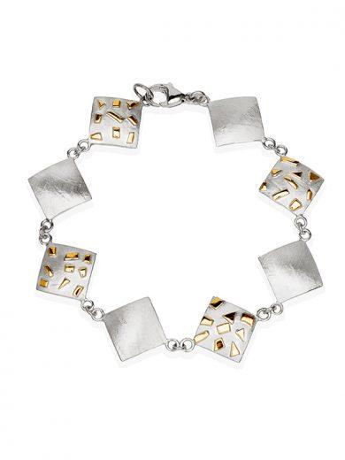 Fiona Kerr Jewellery / Silver & Gold Confetti Square bracelet - GSQ07