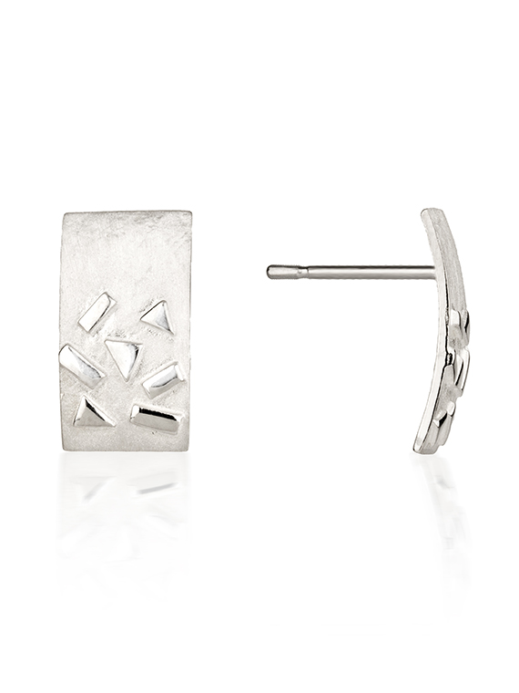 Fiona Kerr Jewellery / Silver Confetti Rectangle Stud Earrings – SRE03