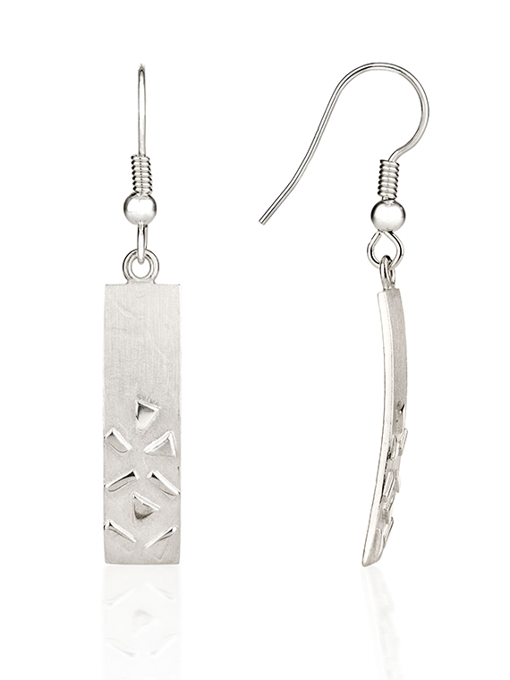 Fiona Kerr Jewellery / Silver Confetti Rectangle Drop Earrings - SRE04