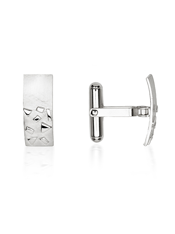Fiona Kerr Jewellery / Silver Confetti Rectangle Cufflinks – SRE06