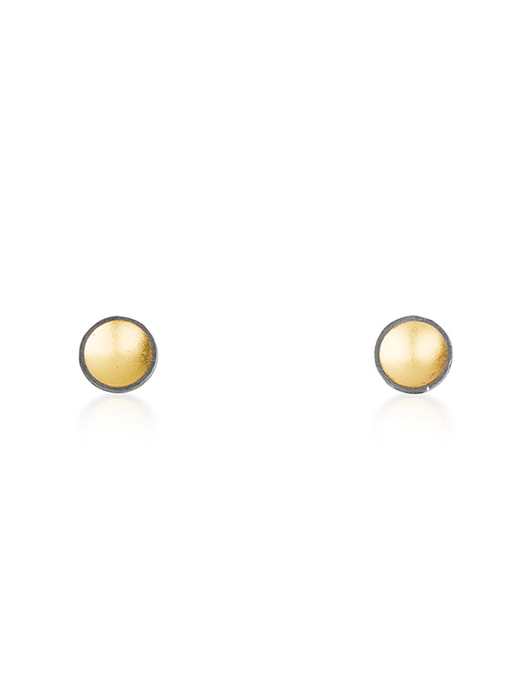 Fiona Kerr Jewellery / Black & Gold Small Stud Earrings - BG01