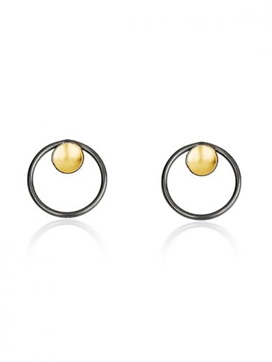 Fiona Kerr Jewellery / Black & Gold Stud Earrings - BG04
