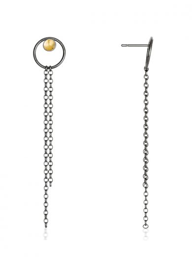 Fiona Kerr Jewellery / Black & Gold Small Drop Earrings - BG06