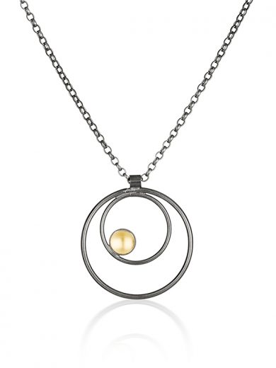 Fiona Kerr Jewellery / Black & Gold Small Pendant - BG08