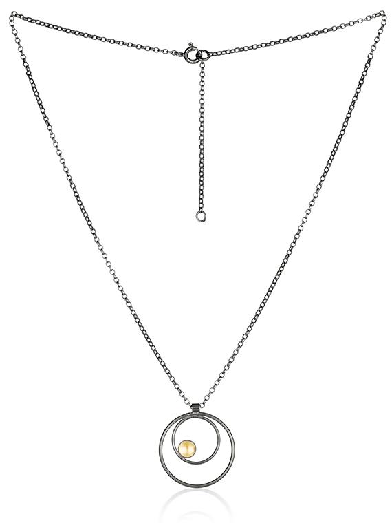 Fiona Kerr Jewellery / Black & Gold Small Pendant - BG08