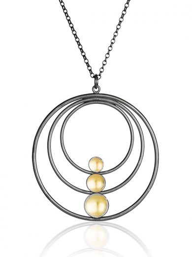 Fiona Kerr Jewellery / Black & Gold Large Pendant - BG09