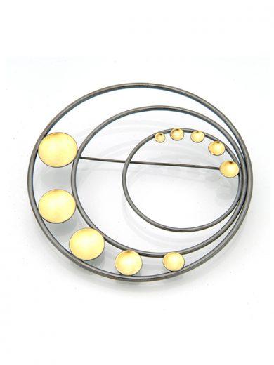 Fiona Kerr Jewellery / Black & Gold Large Brooch- BG12