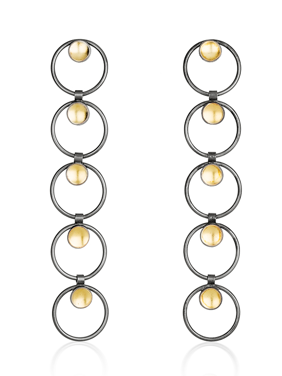 Fiona Kerr Jewellery / Black & Gold Long Drop Earrings - BG16