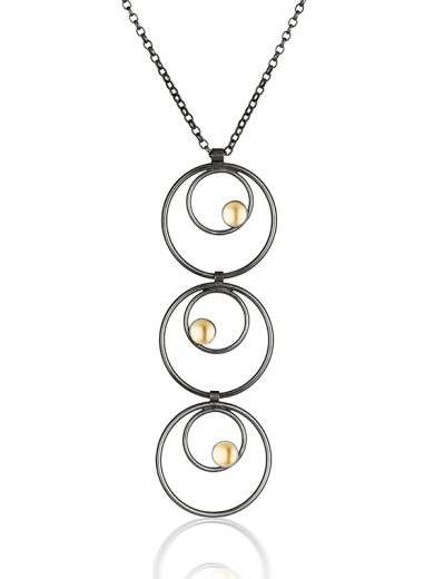 Fiona Kerr Jewellery / Black & Gold Multi Drop Pendant - BG18
