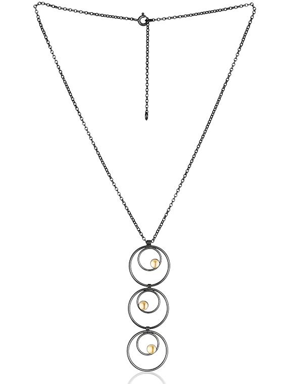 Fiona Kerr Jewellery / Black & Gold Multi Drop Pendant - BG18