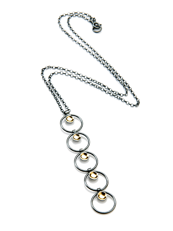 Fiona Kerr Jewellery / Black & Gold Long Pendant - BG19