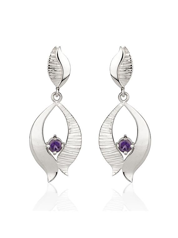 Fiona Kerr Jewellery / Ebb and Flow Silver Drop Earrings with amethyst - EF02B