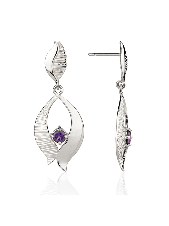 Fiona Kerr Jewellery / Ebb and Flow Silver Drop Earrings with amethyst - EF02B