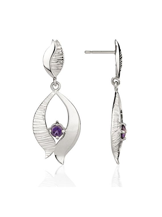 Fiona Kerr Jewellery / Ebb and Flow Silver Drop Earrings with amethyst – EF02B
