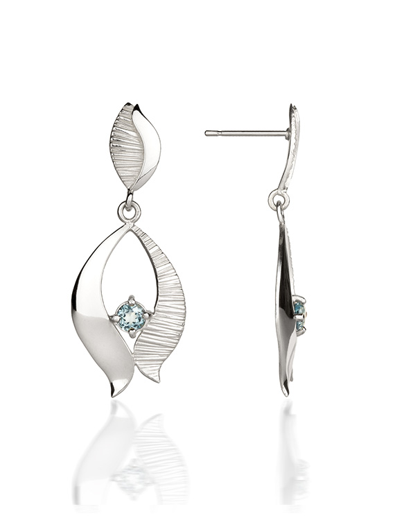 Fiona Kerr Jewellery / Ebb and Flow Silver Drop Earrings with blue topaz - EF02B