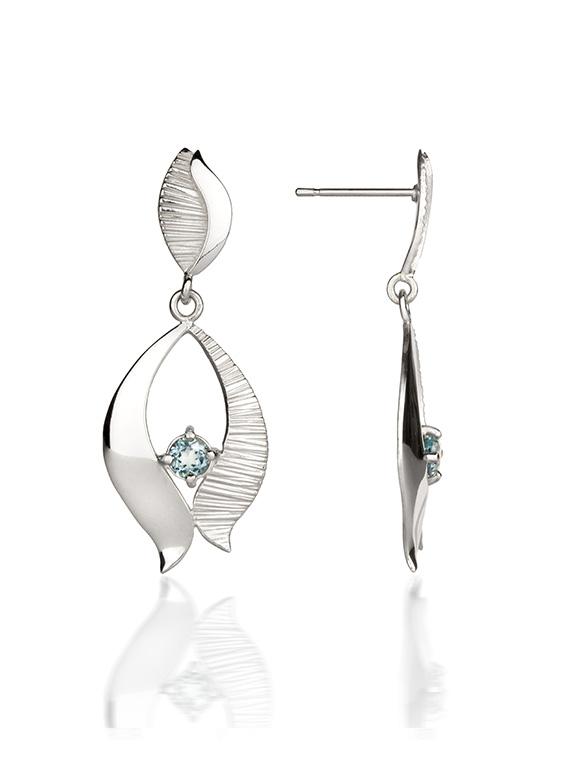 Fiona Kerr Jewellery / Ebb and Flow Silver Drop Earrings with blue topaz – EF02B
