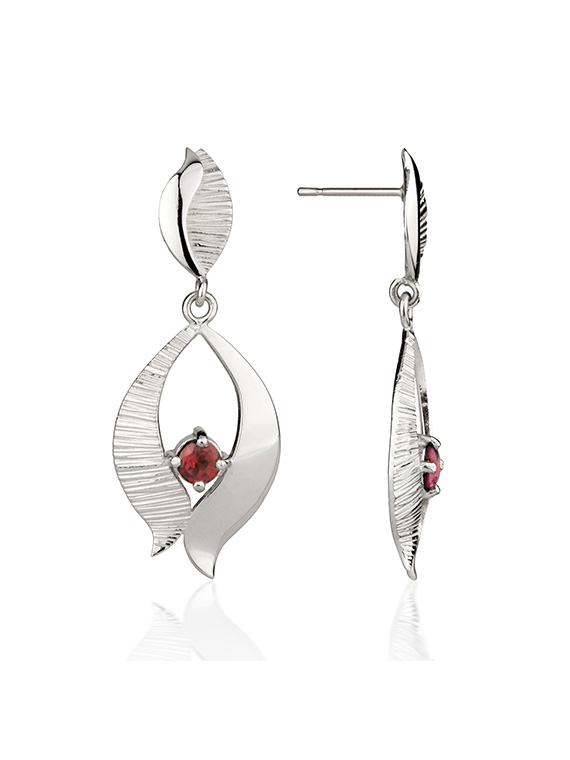 Fiona Kerr Jewellery / Ebb and Flow Silver Drop Earrings with Garnet – EF02G