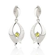Fiona Kerr Jewellery / Ebb and Flow Silver Drop Earrings with Peridot - EF02P