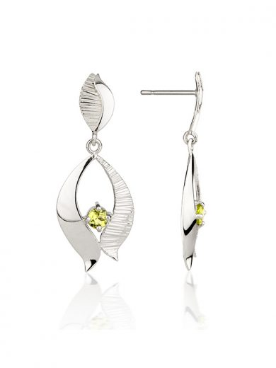 Fiona Kerr Jewellery / Ebb and Flow Silver Drop Earrings with Peridot - EF02P