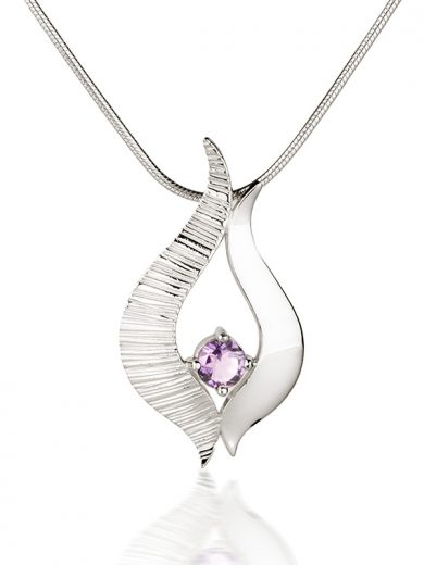 Fiona Kerr Jewellery / Ebb and Flow Silver medium pendant with Amethyst - EF04A