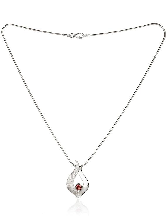 Fiona Kerr Jewellery / Ebb and Flow Silver medium pendant with Garnet - EF04G