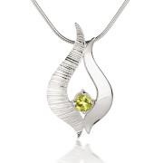 Fiona Kerr Jewellery / Ebb and Flow Silver medium pendant with Peridot – EF04P