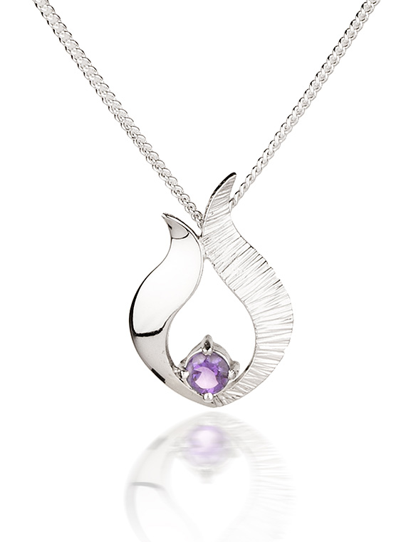 Fiona Kerr Jewellery / Ebb and Flow Small Silver Pendant with Amethyst - EF06A